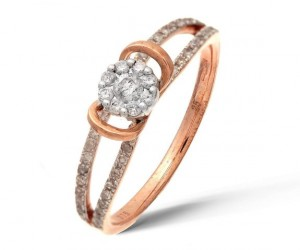 Bague diamant or rose